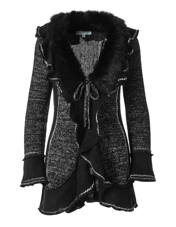 Black Ruffle Faux Fur Coatigan, Black, hi-res