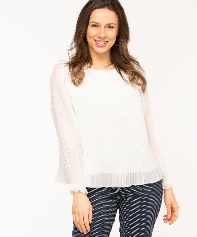 Ivory Chiffon Plissé Pleat Blouse, Ivory