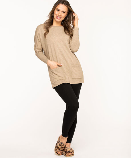 French Terry Long Sleeve Tunic, Sand Mix, hi-res