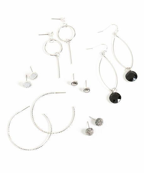 Sparkling Silver/Black Earring 6-Pack, Silver/Black, hi-res