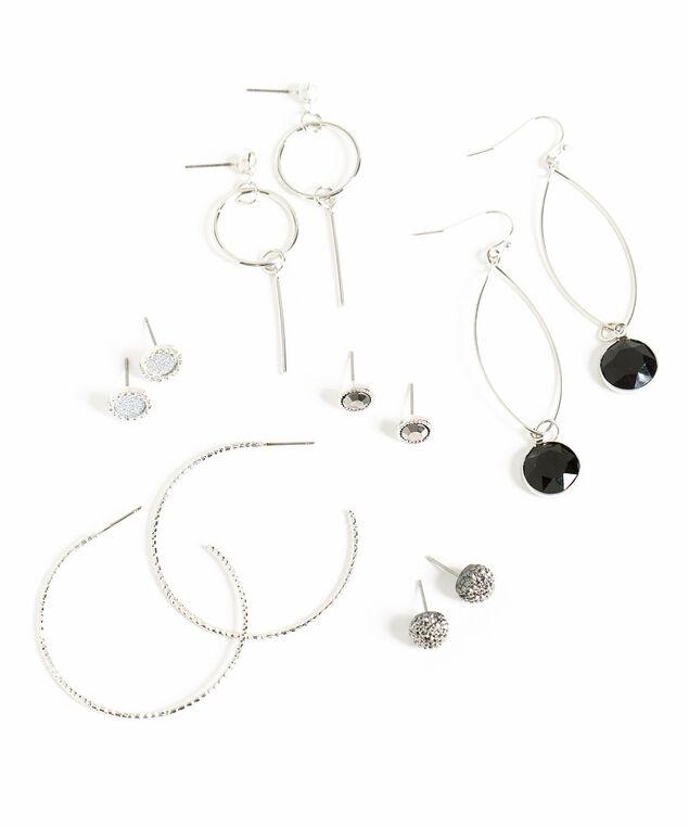 Sparkling Silver/Black Earring 6-Pack, Silver/Black