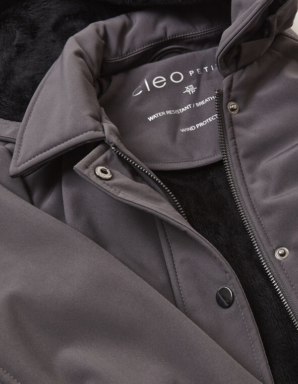 Charcoal Softshell Coat with Fooler, Charcoal, hi-res