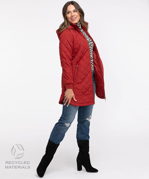 Recycled Quilted Coat, Dark Ruby