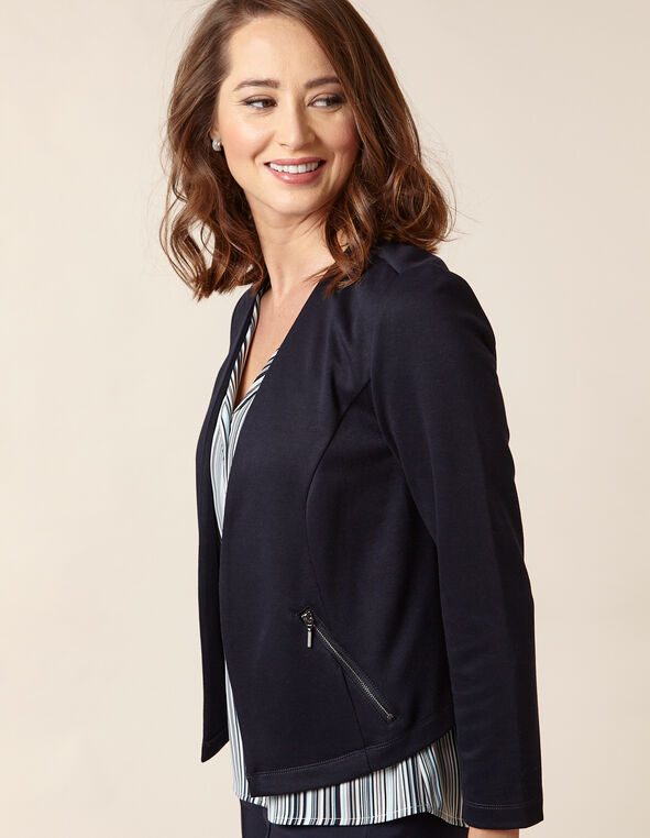 Navy Solid Zip Pocket Blazer, Navy, hi-res