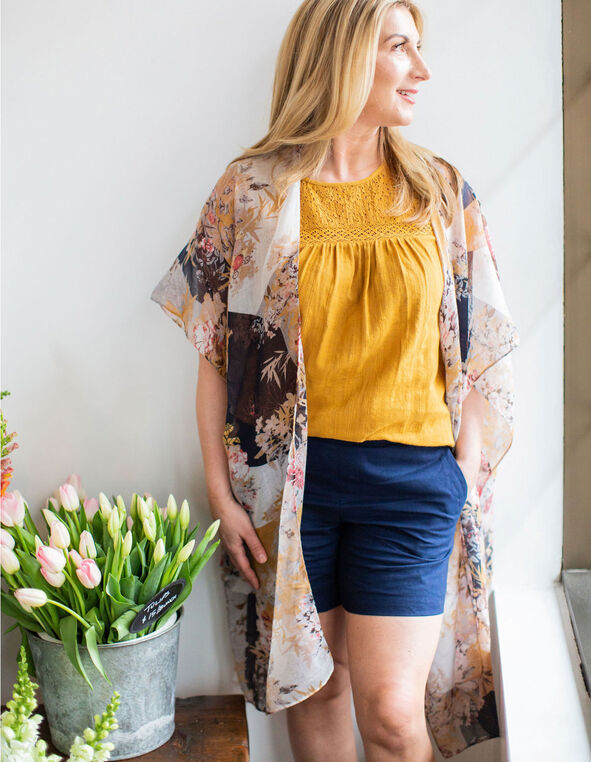 Patchwork Floral Kimono, Orange, hi-res
