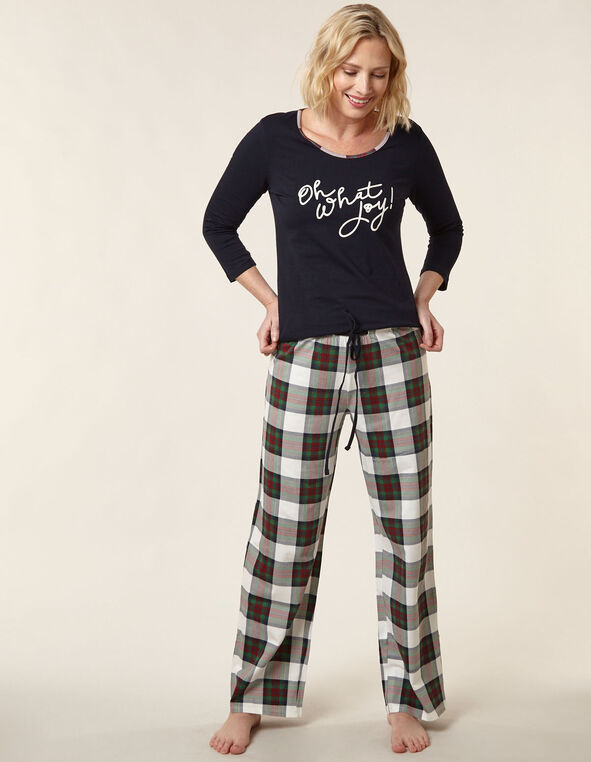 Navy Plaid Print Cotton Pyjama Set, Navy, hi-res
