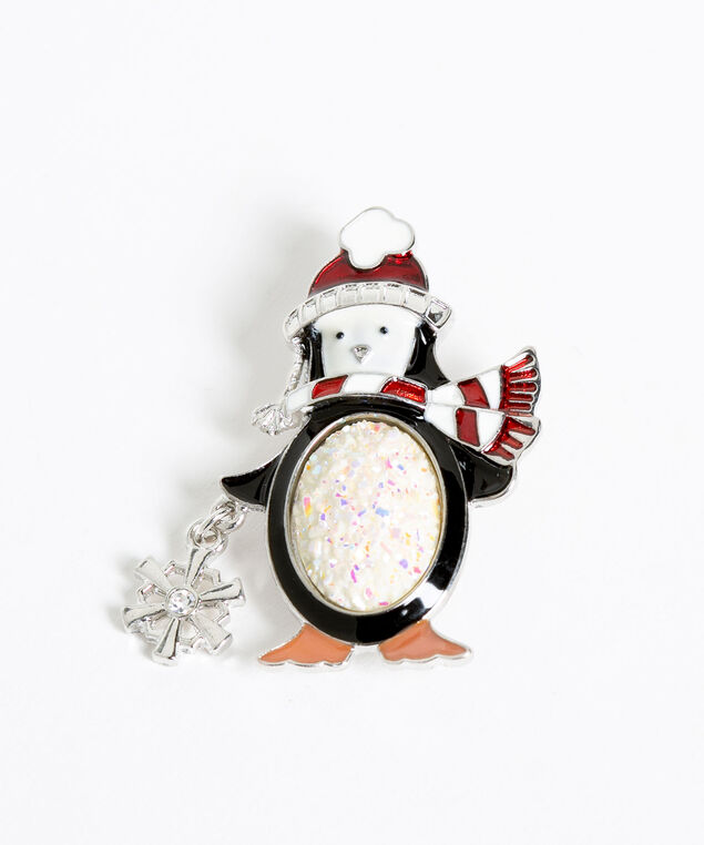 Festive Penguin Pin, White/Black/Red, hi-res