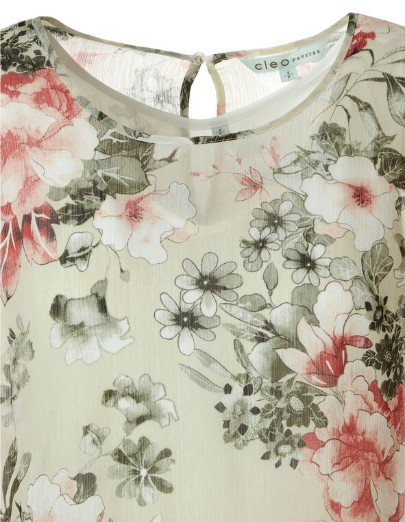 Floral Print Blouse , Green, hi-res