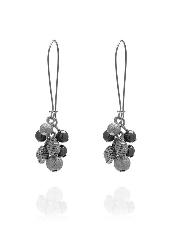 Silver Bead Cluster Earring, Silver/Hematite, hi-res