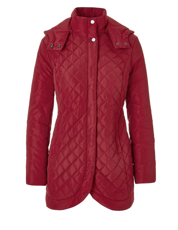 Red Quilted Diamond Coat, Red, hi-res
