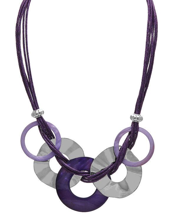Short Purple Corded Statement Necklace, Purple, hi-res