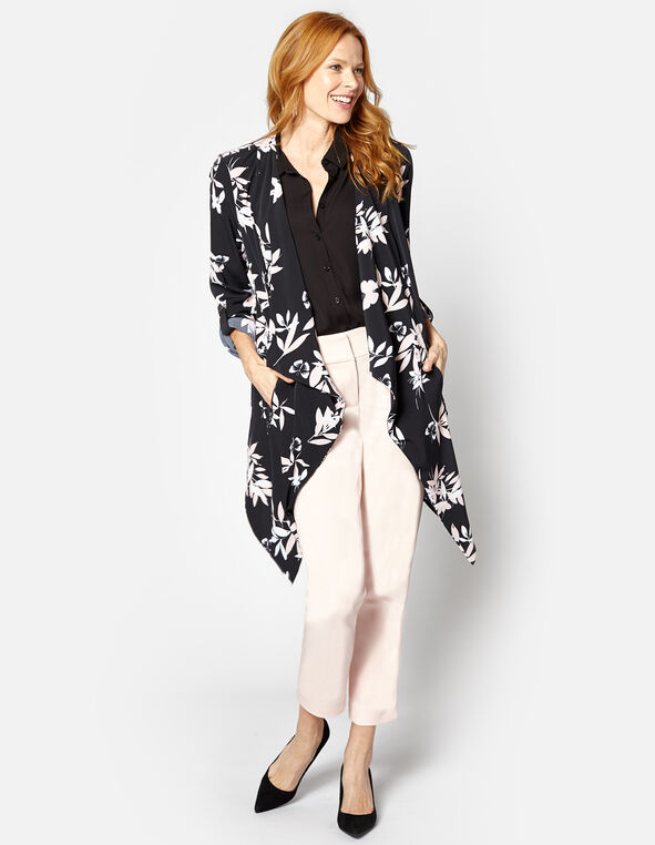 Black Floral Draped Roll Sleeve Blazer, Black, hi-res