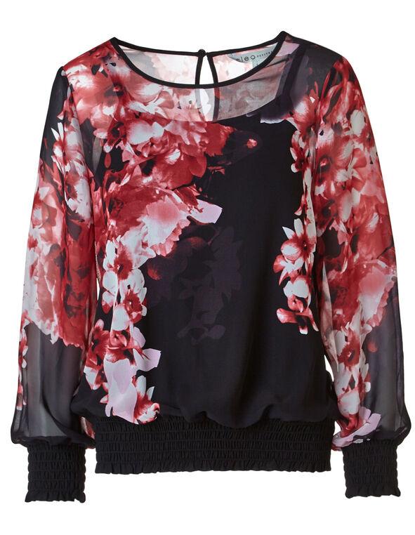 Black Floral Smocked Blouse, Black, hi-res