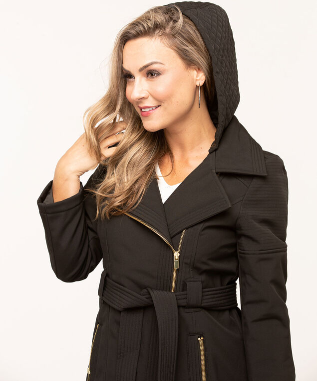 Black Asymmetrical Soft Shell Jacket, Black, hi-res