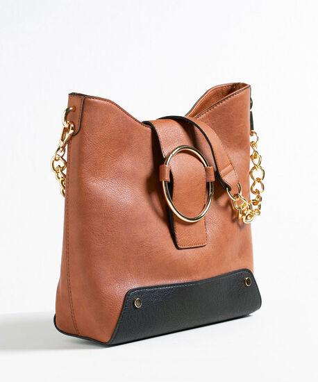 Gold Ring Soft Hobo Handbag, Brown/Black/Gold, hi-res