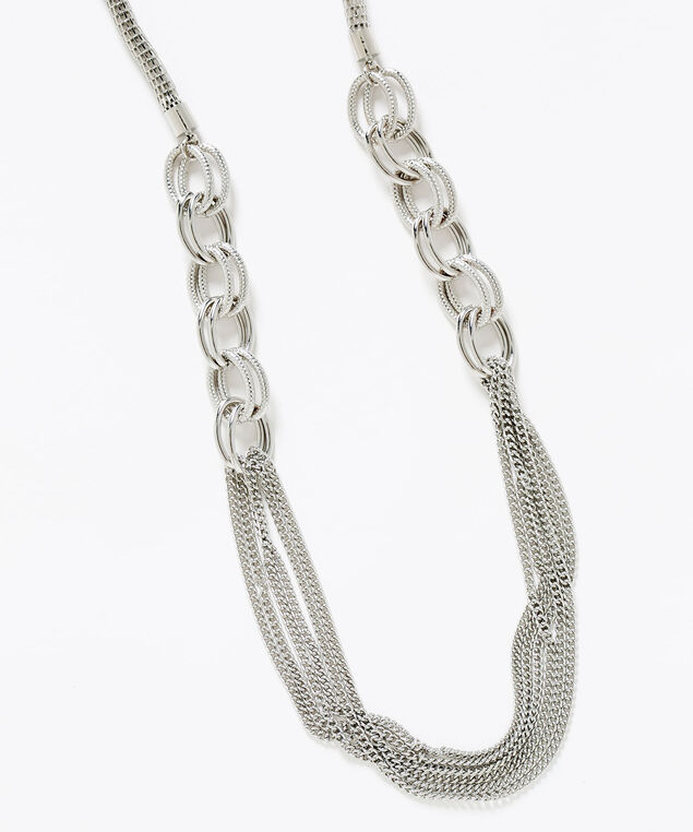 Silver Mixed Link Chain Necklace, Silver, hi-res