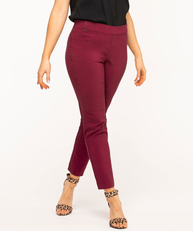 Burgundy Pull On Slim Leg Pant, Burgundy