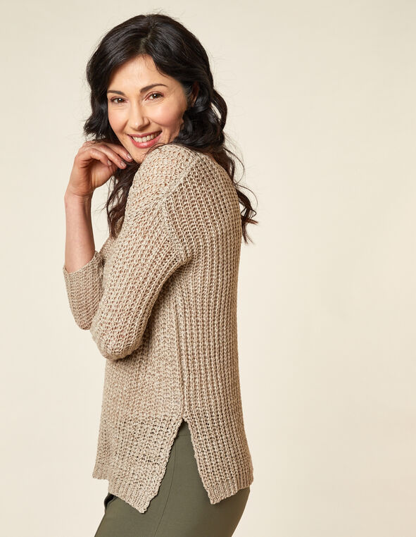 Open Knit Sweater, Neutral/Sand, hi-res