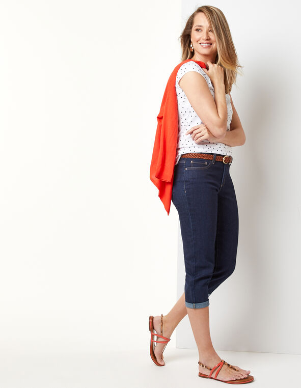 Dark Wash Capri Jean, Navy, hi-res