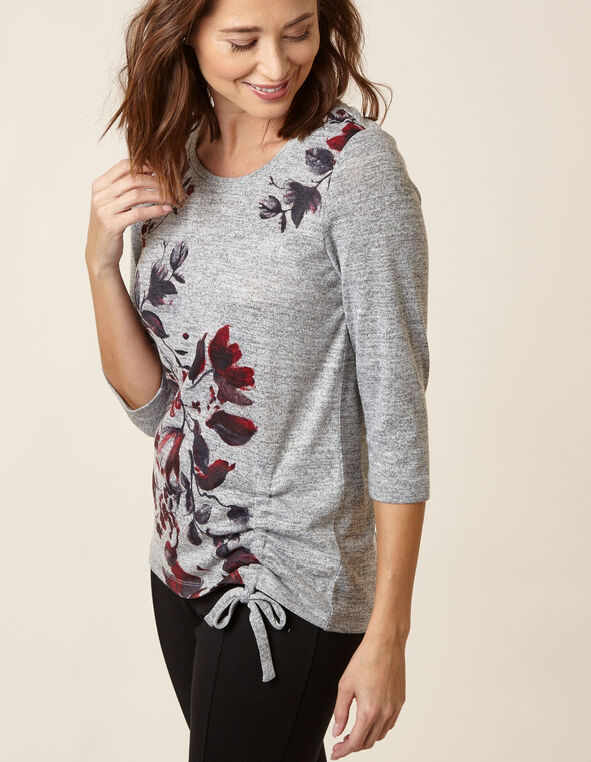 Grey Floral Hacchi Side Tie Top, Grey, hi-res