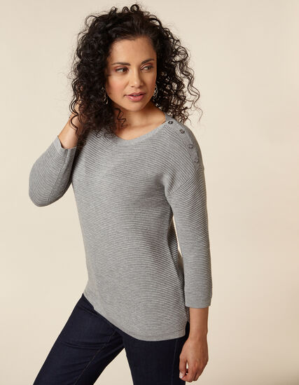 Grey Ottoman Pullover Sweater, Grey, hi-res