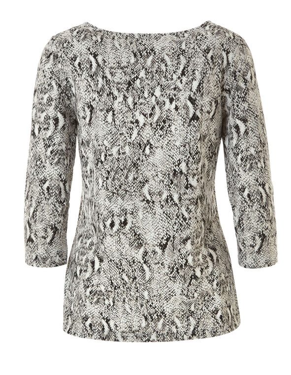 Grey Snake Printed Top, Grey, hi-res