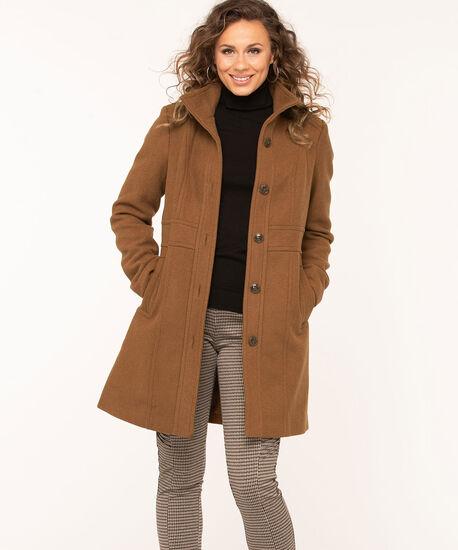 Camel Button Front Seamed Coat, Camel, hi-res