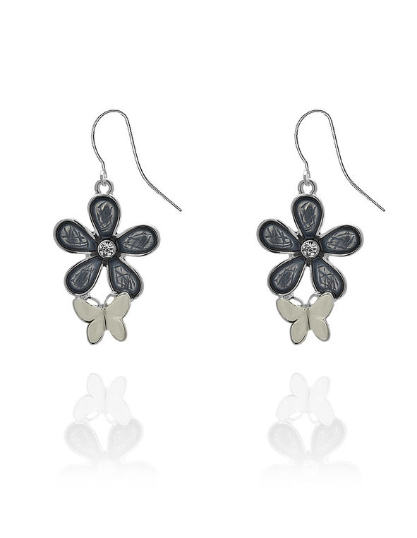 Blue Painted Flower Earring, Silver, hi-res