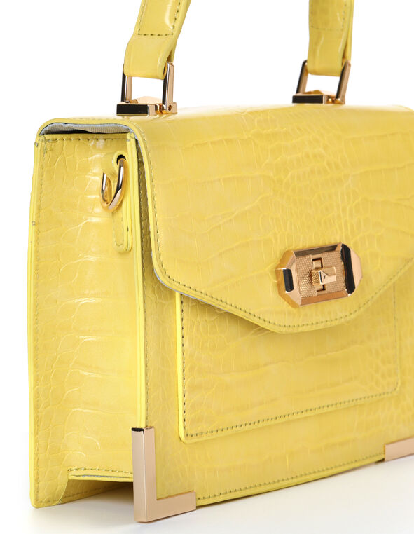 Yellow Croco Handbag, Yellow, hi-res