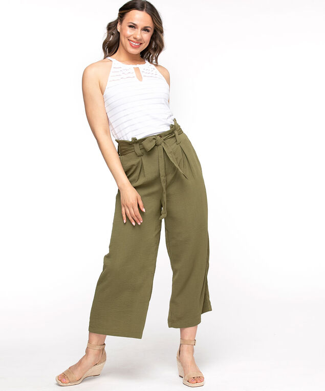 Wide Leg Pull-On Crop Pant, Cactus