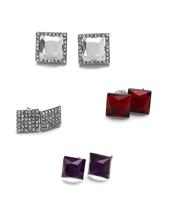 Square Convertible Trio Earring Set, Silver, hi-res
