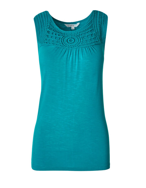 Summer Teal Crochet Slub Top, Summer Teal, hi-res