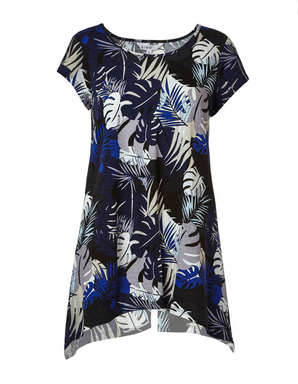 Blue Tropical Sharkbite Tunic Top, Blue/Black/Grey, hi-res