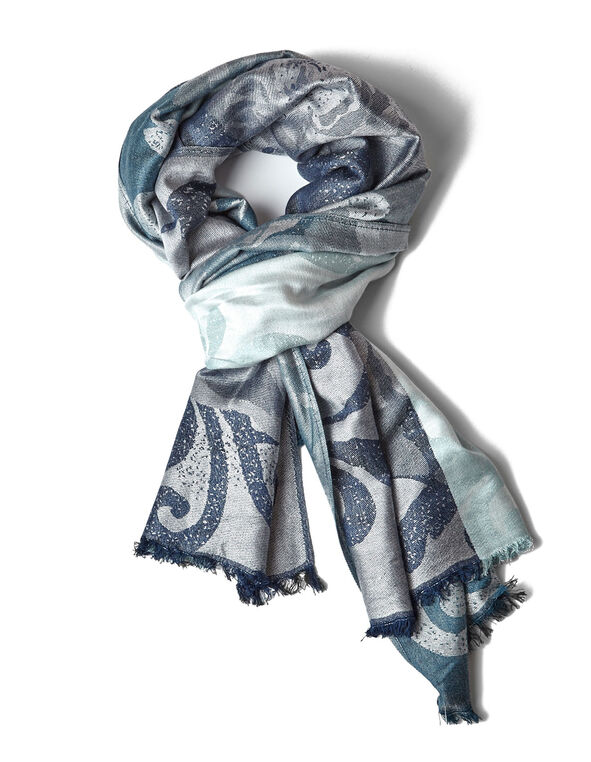 Teal Floral Blocked Pashmina Scarf, Blue/Teal, hi-res