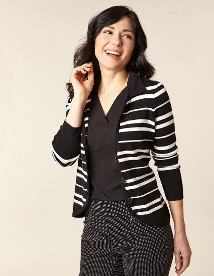 Black Striped Knit Sweater, Black/Ivory, hi-res
