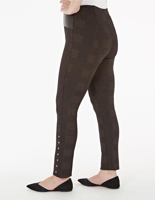 Brown Houndstooth Stud Detail Legging, Brown, hi-res