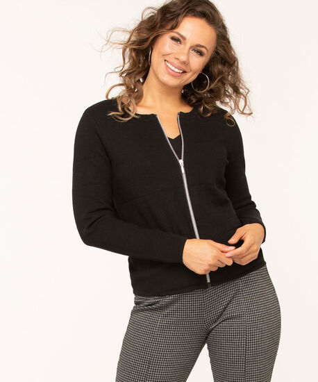 Long Sleeve Zip Front Cardigan, Black, hi-res
