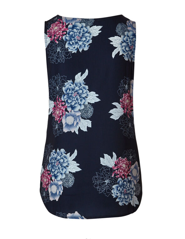 Navy Floral Shell Blouse, Navy, hi-res