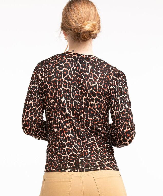 V-Neck Button Front Cardigan, Black/Cider/Straw Leopard