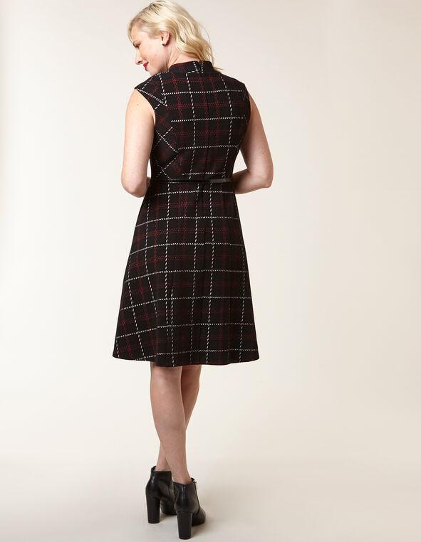 Black Plaid Jacquard Fit & Flare Dress, Black, hi-res