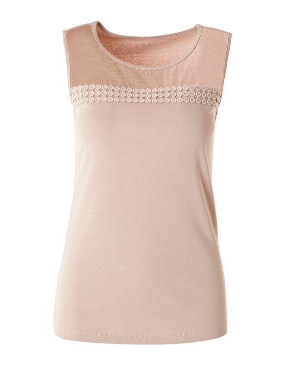 Pink Mesh Front Sleeveless Tee, Pink, hi-res
