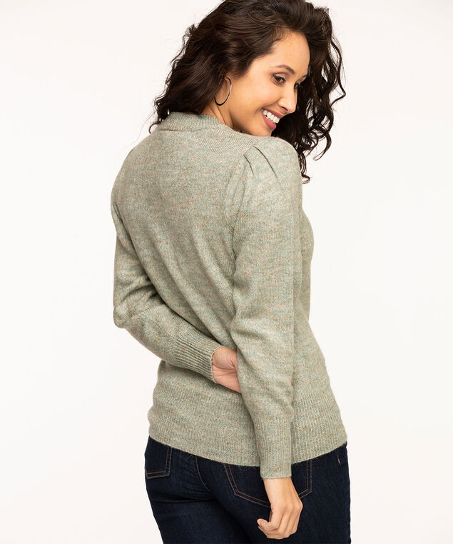 V-Neck Puff Shoulder Sweater, Sage Mix