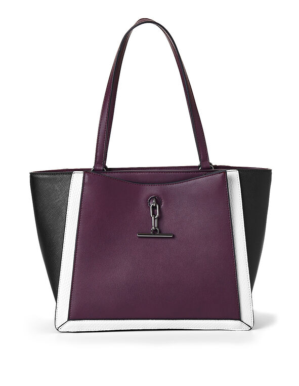 Berry Colour Block Handbag, Purple/Berry, hi-res