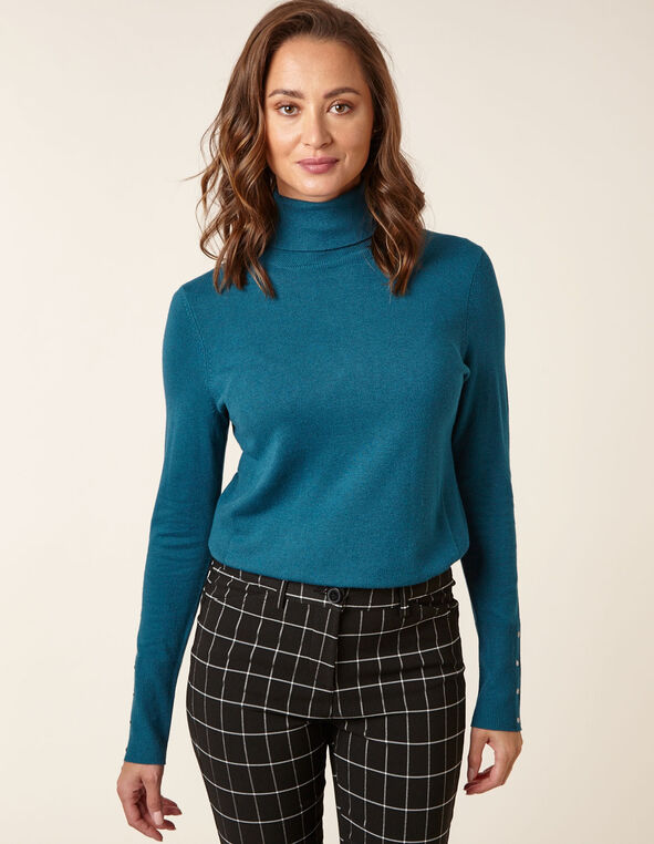 Teal Essential Turtleneck Sweater, Turquois, hi-res