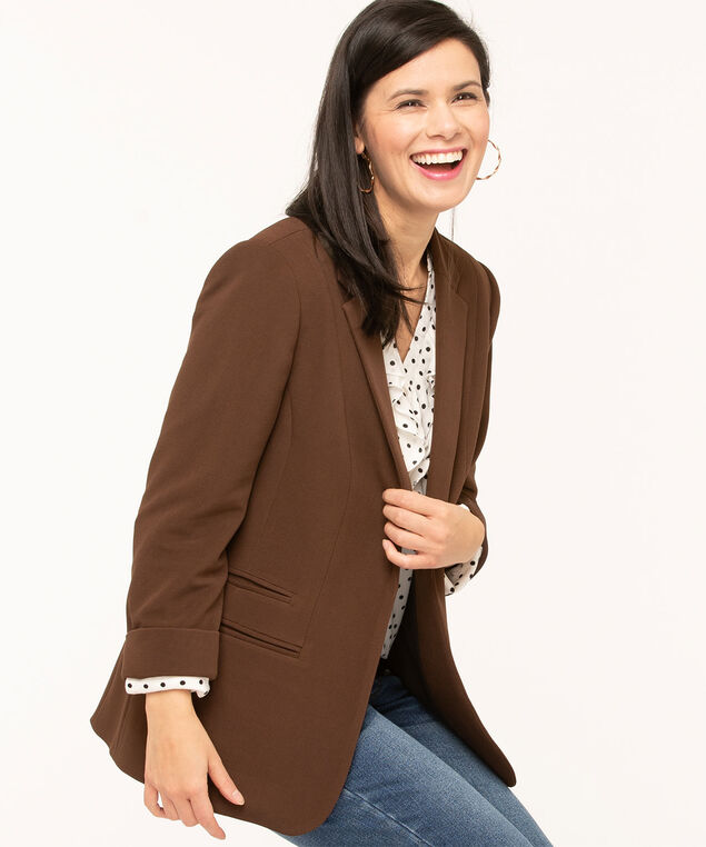 Chocolate Ottoman Knit Open Blazer, Brown, hi-res
