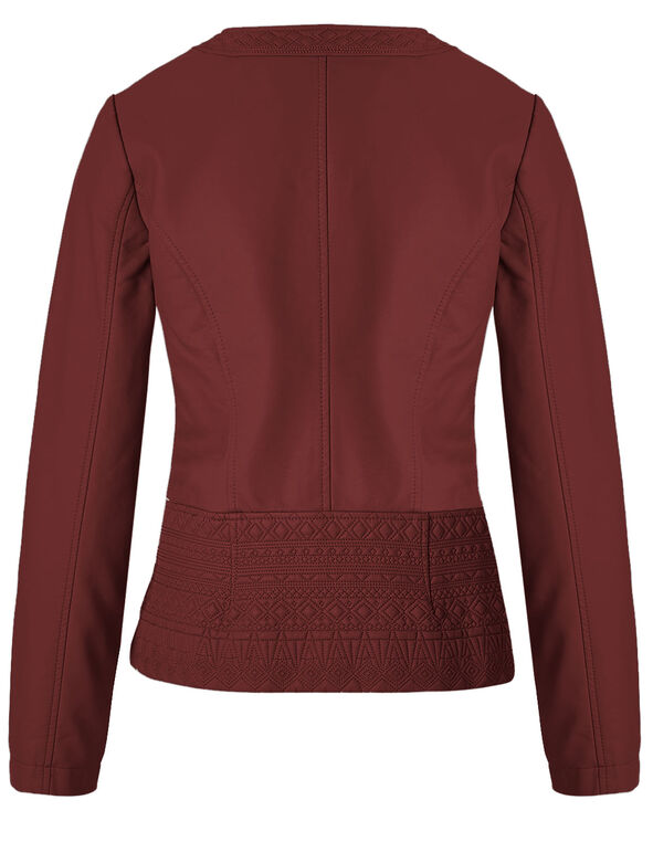 Red Diamond Stitch Faux Leather Jacket, Red, hi-res