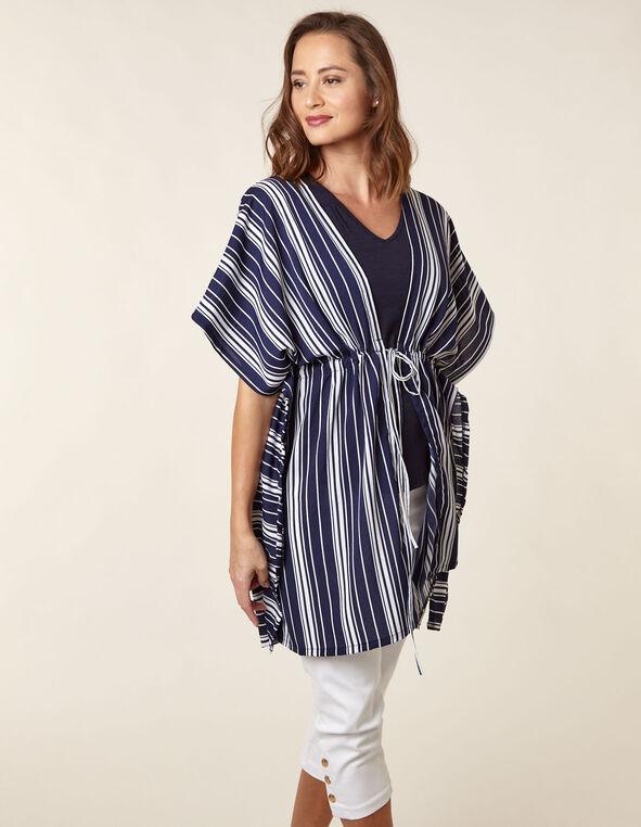 Navy Striped Kimono, Navy, hi-res