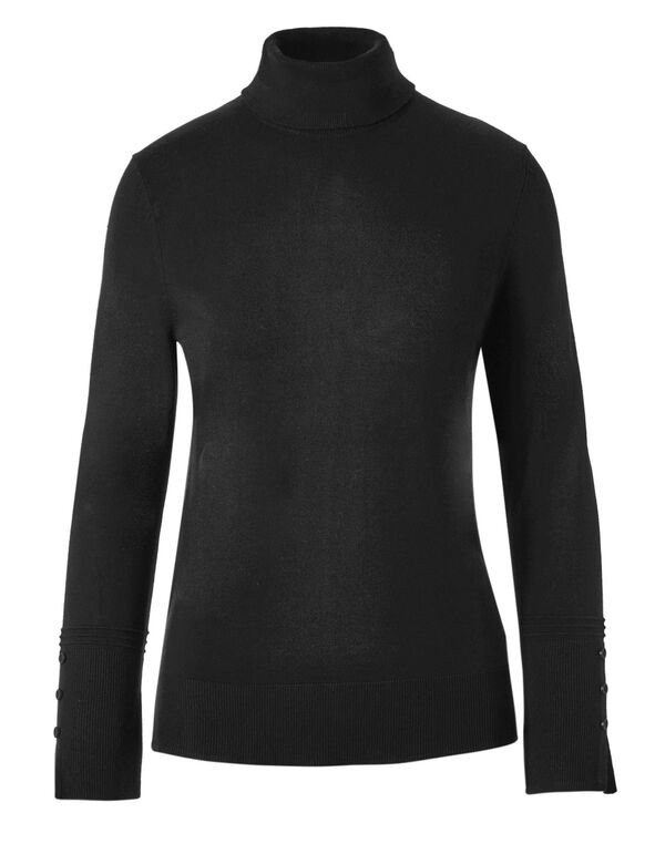 Black Turtleneck Sweater, Black, hi-res