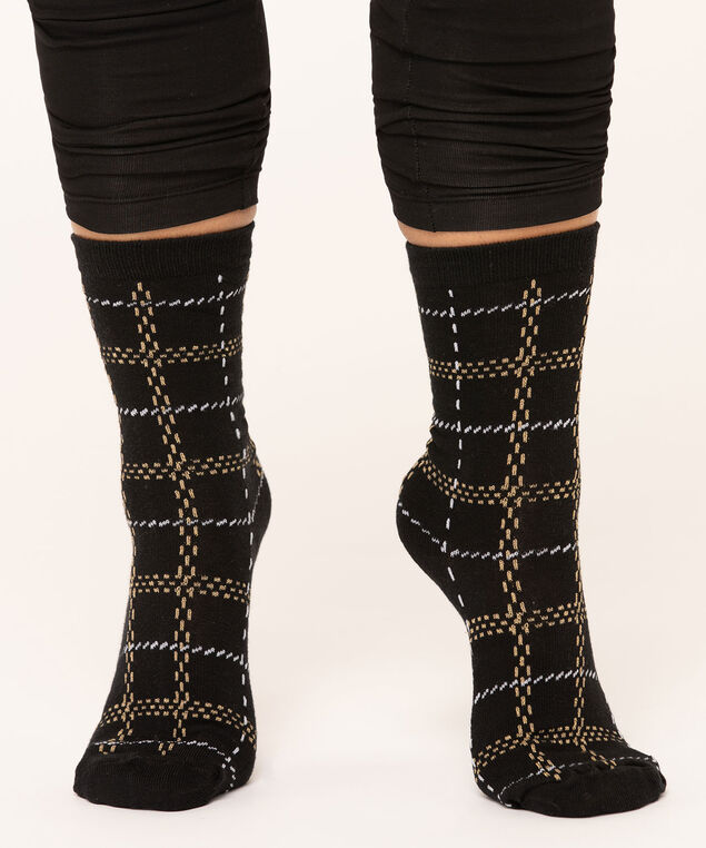 Windowpane Pattern Crew Sock, Black/Gold/White, hi-res