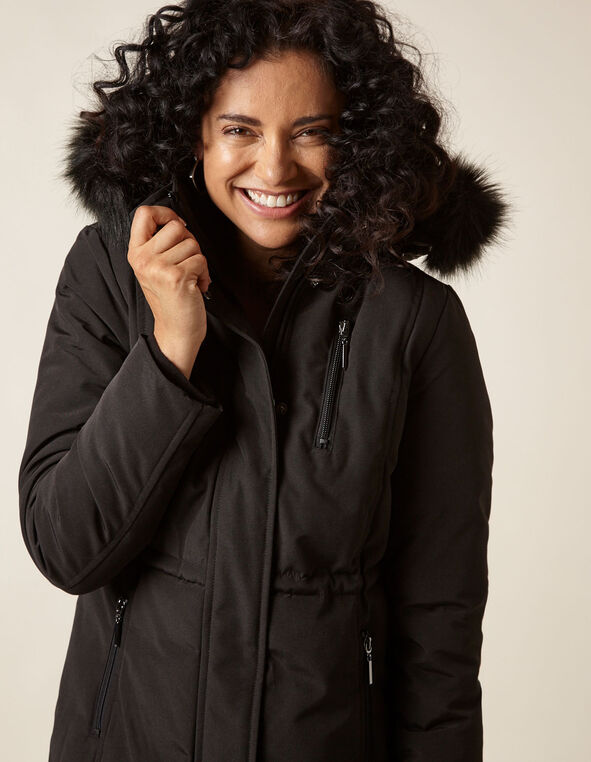 Black Anorak Faux Down Coat, Black, hi-res